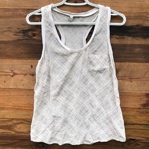 Joie | White Plaid Racer Back Tank size Medium